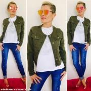 V&V Dámská krátká jeans bundička khaki zelená (XXXL) - V&V
