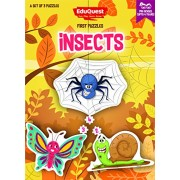 EduQuest - Jigsaw Puzzle - Insects - 2-4 years old - Set of 3 puzzles - 2,3,4 piece puzzles - Snail (2 pieces), Butterfly (3 pieces), Spider (4 pieces)