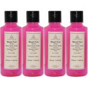 Khadi Pure Herbal Rose Body Wash SLS-Paraben Free - 210ml (Set of 4)