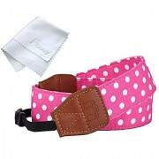 Fotasy AR7 Polka Dot Fabric Stylish Neck Strap for Canon Fujifilm Nikon Olympus Panasonic Sony Pink