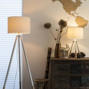 QAZQA Set of Floor Lamp and Table Lamp Tripods with White Shade - Pip