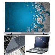FineArts Laptop Skin 15.6 Inch With Key Guard & Screen Protector - Blue Grey Abstract