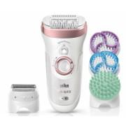 Epilator Silk-épil 9 SkinSpa SensoSmart™ 9/990 roz auriu - sistem 4 în 1: epilare, exfoliere și îngrijirea pielii + 13 accesorii