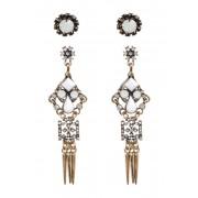 Free Press Geo Stone Drop Earrings - Set of 2 CLEAR-WHITE MULTI-BLACK-GOLD