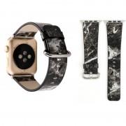 Voor Apple Watch serie 3 & 2 & 1 42mm Fashion marmeren ader textuur Wrist Watch lederen Band (zwart)