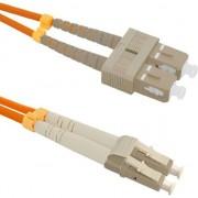 Cablu de retea din fibra optica multifunctional cu dubla conectare , Qoltec , SC/UPC LC/UPC , 50/125 , om2 , 1m