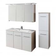 Badezimmer Komplettset in Weiß Eiche Nachbildung (3-teilig)