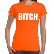 Bellatio Decorations BITCH fun t-shirt oranje voor dames XS - Feestshirts