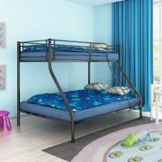 vidaXL Детско двуетажно легло, 200x140 / 200x90 см, метално, черно