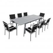 Happy Garden Salon de jardin CAPRI extensible en textilène noir 8 places - aluminium gris