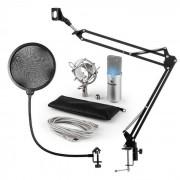 Auna MIC-900S-LED Juego de micrófono V4 USB Micrófono de condensador Protector antipop Brazo para micrófono LED plateado