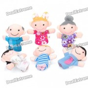 Lindo Mini Happy Family Marionetas de peluche Figura Finger Juguetes (6-Piece Pack)