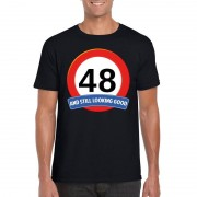 Bellatio Decorations Verkeersbord 48 jaar t-shirt zwart heren