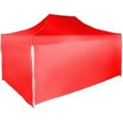 Gyorsan összecsukható sátor 3x4,5 m - alumínium, Piros, 4 oldalfal