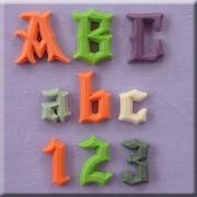 Set 3 Mulaje Alfabet si Cifre Stil Gotic, h 2.2 cm