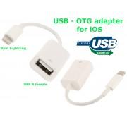 NTR CAB130 Apple Lightning 8pin dugó - USB aljzat OTG adatkábel iPad iPhone 10cm - fehér