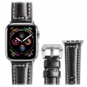 Qialino Apple Watch Series 5/4/3/2/1 Leather Strap - 42mm, 44mm - Black