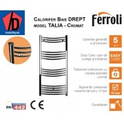 Calorifer de baie curbat cromat Ferroli Talia 400/800 mm