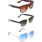Abner Wayfarer, Clubmaster, Aviator Sunglasses(Brown, Black, Blue)