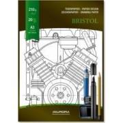 Bloc desen A3 20 file - 210g-mp pentru schite creion-marker AURORA Bristol - carton alb