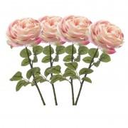 Merkloos 4x Lichtroze rozen kunstbloemen 66 cm
