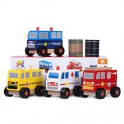 Ray's Toys Stacking Toy Trucks & Road Tapes: Educational Wooden Toy Set of Toy Police Car+ Fire Toy Truck+ Toy Ambulance + Toy School Bus for Toddlers/ Sturdy, Colorful Vehicle Set/ Great Gifting Idea