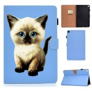 Samsung Voor Galaxy Tab S6 Lite Pure Color Painting Links en Rechts Plat Lederen Hoes met Pen Cover & Card Slot & Buckle Anti-slip Strip en Bracket(Cat)