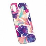 Husa Silicon Transparent Slim Flori Tropicale Apple iPhone X