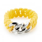 The Rubz Natural Silicone 15mm Unisex Bracelet Sunshine & Silver