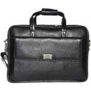 Reo Leather | Leather Laptop Briefcase Bag for Men |15.6'' Laptop Compartment| |Expandable Features| |Zipper Lock Closure | 22 Liters | Shoulder Bag(Black, 22 L)