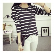 Autumn Long Sleeves Striped Bottoming Shirts Round Neck Women Slim Top Clothes Black