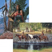 Bits and Pieces - Set of Two (2) 300 Piece Jigsaw Puzzles for Adults - Native American Scenes - 300 pc Horses Jigsaws by Artist Richard Luce & Russ Docken