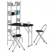 IDIMEX Ensemble table de cuisine pliable avec étagères et 2 chaises JONATHAN, noir