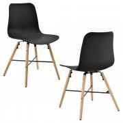 [en.casa] Conjunto de 2 sillas de comedor - negro con estampado - silla de plástico de diseño retro