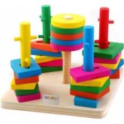 Joc Montessori cu 5 Coloane Sortatoare De Forme Din Lemn - Krista and reg