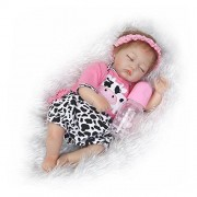 Sleeping Reborn Baby Doll Girl That Look Real Silicone Rose Red Outfit with Cow Pattern 15 inches