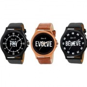 Gen-Z Trendy Graphic Leather Strap Fly Believe Evolve Combo of 2 watches for Men GENZ-CO-FLY-EVO-BEL