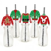 Ugly Sweater - Christmas Party Straw Decor with Paper Straws - Set of 24