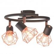 vidaXL Лампа за таван с 3 спота, E14, черно и мед