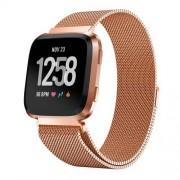 Okosóra szíj - rozsdamentes acél, mágneses - ROSE GOLD - 225mm hosszú, 22.5mm széles - Fitbit Versa