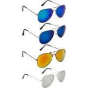 NuVew Aviator Sunglasses(Blue, Golden, Green, Blue, Silver, Violet)