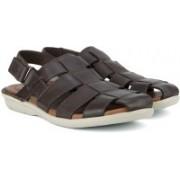Clarks Men Dark Brown Lea Sports Sandals