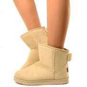 Stivali alla Caviglia Con Pelo e Fiocco Ankle Boots Eco Pelliccia Caldi Beige T: 40