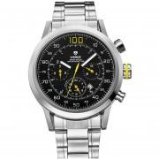 WEIDE WH-3311 Del Acero Inoxidable De La Manera De La Venda 3ATM De Los Hombres Reloj De Cuarzo Resistente Al Agua Con El Calendario - Negro + Amarillo + Silver