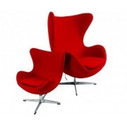 Design Town Czerwony Fotel dziecięcy Wełna Naturalna Inspirowany Projektem Egg Chair