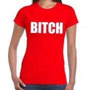 Bellatio Decorations BITCH fun t-shirt rood voor dames