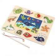 Joykith Wooden 10-Piece Fishes And 6-Piece 3D Jigsaw Puzzle Basic Educational Development Wooden Magnetic Bath Fishing Travel Table Game, Birthday Gift Toy for age 3 4 5 Year Old Kid Children Baby Tod