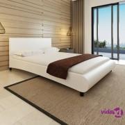 vidaXL Okvir za krevet od umjetne kože bijeli 140 x 200 cm
