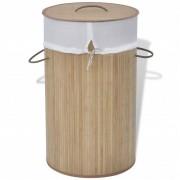 vidaXL Cesto redondo para roupa suja bambu natural