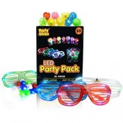 PartySticks 50 LED Party Favors Pack 32 LED Finger Light Up Toys 13 LED Jelly Finger Rings and 5 LED Glasses for New Years Eve in Assorted Glow in The Dark Colors